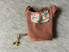 """Brown cap sleeve T-shirt floral panel ribbon beads fit 12"""" fashion doll"""