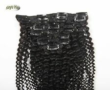 Afro Kinky Curly Clip In Human Hair Extensions Weft Full Head 10pcs 120g Black