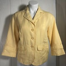 Studio Works Yellow Linen Jacket Blazer Small Petite SP 3/4 Sleeves Fitted