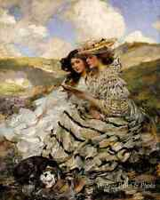 On the Dunes by James J Shannon Art Victorian Women Dog Read Book 8x10 Print 312