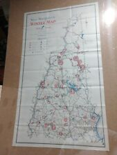 Vintage Original 1945-6  New Hampshire Winter Ski Map Poster