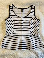 Ann Taylor LOFT Women's Top Black & White Striped Sleeveless Size M