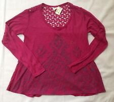 NWT Aeropostale gray pattern pink long sleeve swing shirt top ladies XS