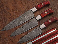 CUSTOM MADE DAMASCUS BLADE KITCHEN KNIFE 3 Pc's SET 1002-RED