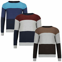 New Crosshatch Men's Stripe Sweater Cotton Crew Knit Snakker Pullover Jumper Top