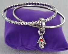 STARGEMS GENUINE EVIL EYE/ HAMSA SILVER JOINED CHARM BRACELET BANGLE DOUBLE SET