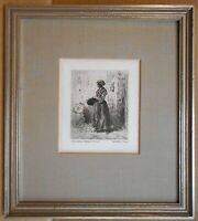 Milkmaid in a barn. Etching by listed French artist Charles-Emile Jacque c1850