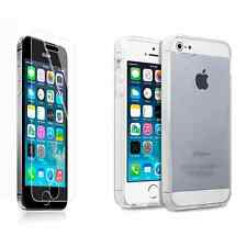 For Apple iPhone 5/5S/SE Clear Transparent Gel Case Cover Tempered Glass Screen