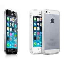 Para Apple iPhone 5/5S/SE Transparente Gel Estuche Cubierta Pantalla de Vidrio Templado