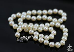 """14K White Gold & Pearl 14"""" Choker Necklace w/Fishhook Clasp"""