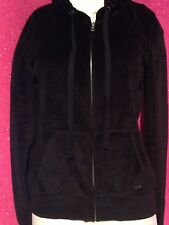 NWT VICTORIA'S SECRET PINK  COLLECTION BLACK VELOUR HOODIE SIZE MEDIUM