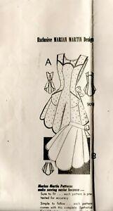 50s Marian Martin Mail Order Sewing Pattern 9091 Full  Bib Style Apron Medium