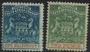 RHODESIA 1892 ARMS 1/2D AND 2D PERF 14