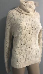 NWT $998 cashmere Ivory Weave Turtleneck Sweater by Ralph Lauren Purple Label