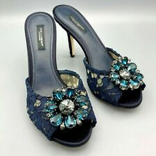 NIB $995 DOLCE & GABBANA Taormina Lace Black Crystal Pumps EU 37.5 / US 7