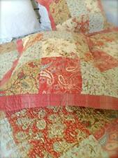3 PC Queen Bed Quilt Set Shabby Farmhouse Pottery Rustic Red Barn Chic Patchwork