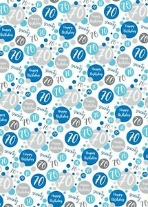 2 Sheets 70th Birthday Wrapping Paper Age 70 Gift Wrap Male Blue and White (PA)