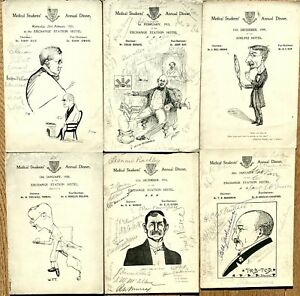 Orig lot 6 x Liverpool University Medical Students Annual Dinner progs 1909-1921