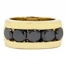 5.00 Carat Black Diamond Men's Ring 14k Yellow Gold