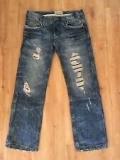 Ladies CRAFTED Boyfriend Jeans Size 8 Blue Denim  W8 L30  Faded Distressed
