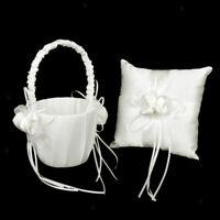 White Satin Flower Girl's Basket & Wedding Ring Pillow Cushion Sets
