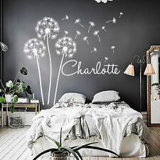 Personalized Name Wall Decals Dandelion Art Girl Berdroom Vinyl Stickers MN1013