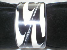 Black And White Print Wide Cuff Bracelet One Size Fit All