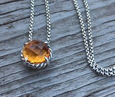David Yurman 8mm Chatelaine Pendant Necklace with Citrine 925 Sterling Silver