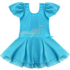Girls Gymnastics Ballet Dance Dress Toddler Kid Leotard Tutu Dancewear 2-14Years