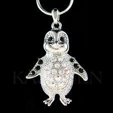 w Swarovski Crystal Black Emperor Penguin Antarctica Jewelry Charm Necklace New