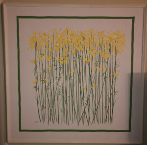 Mid Century Acrylic Abtract Floral Painting By Charles Clifton