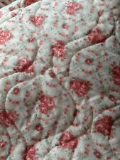Full Quilted Bedspread Double Roses Cottage Shabby EUC Comforter Chic Coverlet