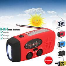 Solar Hand Crank Dynamo AM/FM/NOAA Weather Radio LED Flashlight Charge Emergency