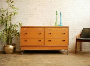 Vtg 60s Mid Century Modern 6 Bank Chest of 6 Drawers Sideboard on Hairpin Legs