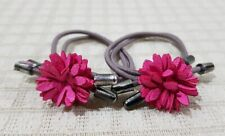 ELASTIC PONYTAIL HOLDER WITH LEATHER FLOWER CHARM HAIR ACCESSORY FUCHSIA