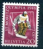Switzerland 1948 20c+10c Winter Olympics stamp unmounted mint