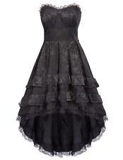 GOTHIC BLACK VICTORIAN VINTAGE CORSET DRESS STEAMPUNK PROM HALLOWEEN RETRO DRESS