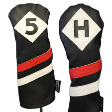 Majek Retro Golf #5 & H Wood & Hybrid Headcover Black Red White Leather Style