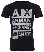 Armani Exchange STACKED Mens Designer T-SHIRT Premium BLACK Slim Fit $45 NWT