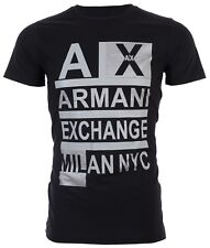 Armani Exchange STACKED Mens Designer T-SHIRT Premium BLACK Slim Fit $45 NWT