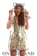 SEE THROUGH CLEAR VINYL RAINCOAT TRANSPARENT TREND FESTIVAL RAIN EARS PVC MAC