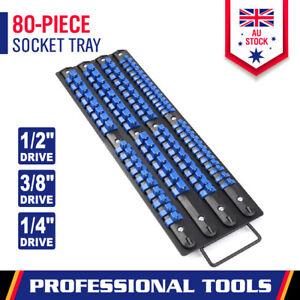 80-Piece Socket Rails Set Mix Combination Holder Ball Lockable Tool Storage Tray