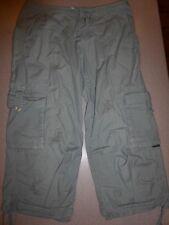 Prana Breathe Women's GrayCapri Cropped Cinch Leg Cargo Drawstring Pants sz M