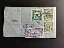 1938 Paraguay Sc348 (2) C47, habilitado C108 blue cancel Asuncion to Germany