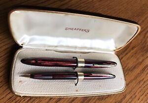 Sheaffer 1850 Red Stripe( Carmine)Lifetime Balance Fountain Pen And Pencil Set