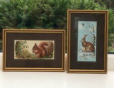 Vintage Pair J&J Cash Silk Embroidery Pictures. Framed. Squirrel And Hare