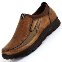 Men's Winter Pull on Loafers Leather Casual Shoes Breathable Antiskid Moccasins