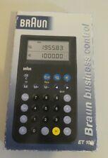 BRAUN ET 100 business control Taschenrechner Calculator 4831 Neuw. in Box
