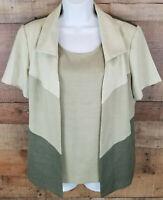 Anthony Richards 2-Piece Blouse Set Layered Green Short Sleeve Top Size 12