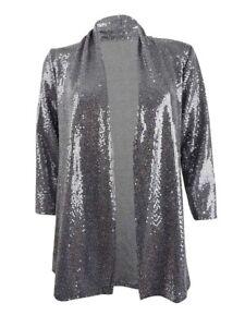 Kasper Women's Petite Open-Front Metallic Jacket